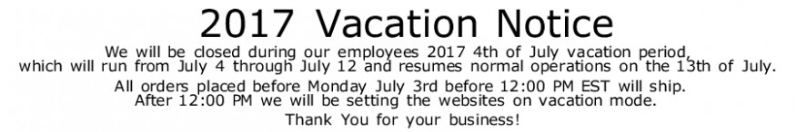 2017 Vacation Notice